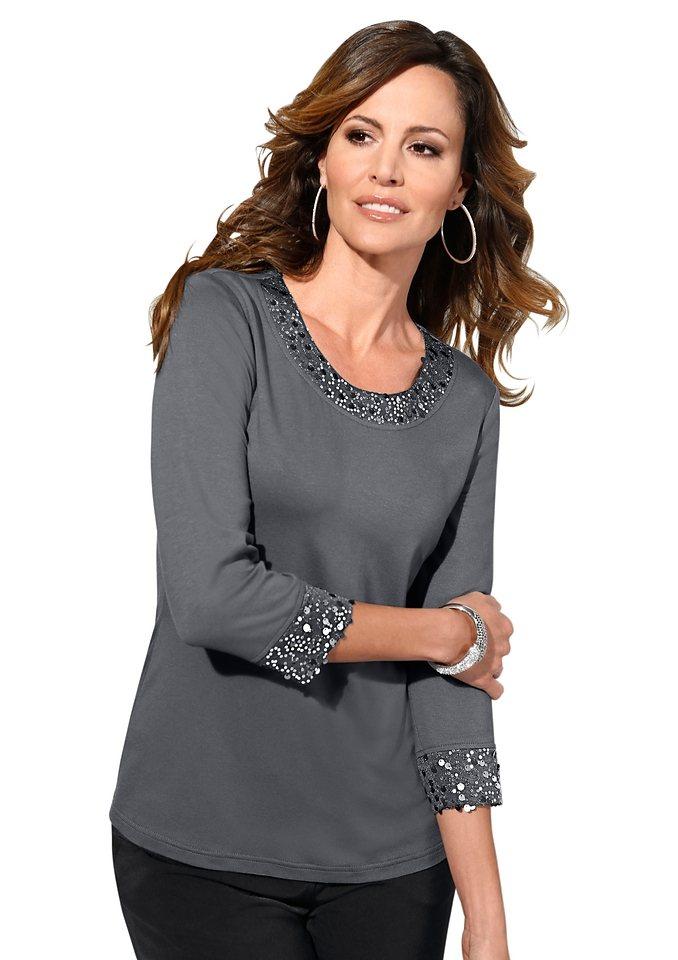 Lady Shirt mit verziertem Rundhals-Ausschnitt in grau