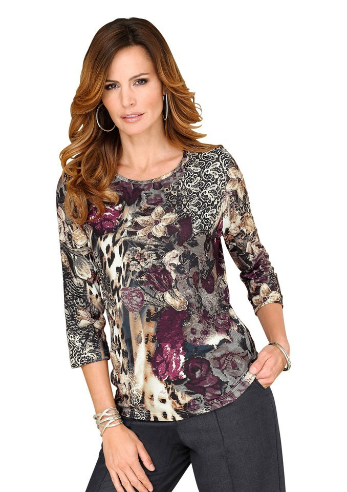 Lady Shirt mit 3/4-Ärmeln in brombeer-anthrazit