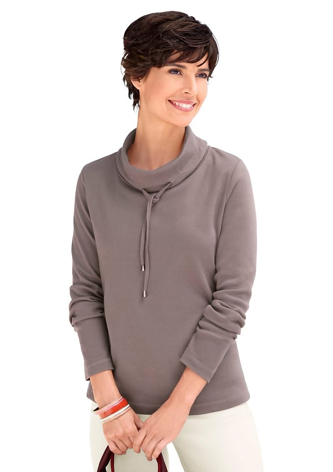 Collection L. Sweatshirt mit halsfernem Rollkragen in taupe