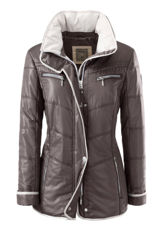 Wega Fashion Jacke mit im Umlegekragen versteckter Kapuze in dunkelgrau