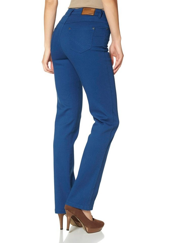 Arizona Gerade Jeans High Waist in royalblau