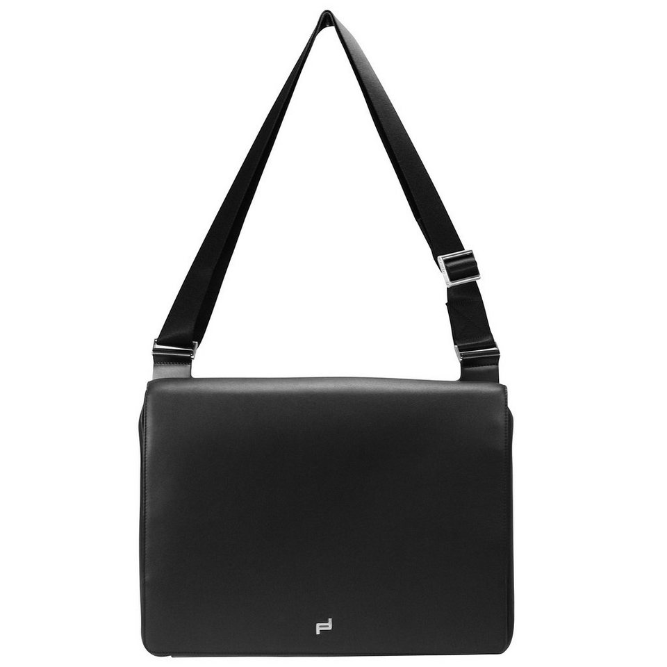 Porsche Design Shyrt-Leather ShoulderBag MFH Umhängetasche Leder 38 cm Laptopfa in black