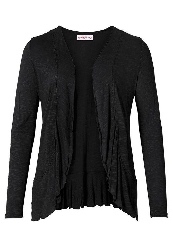 sheego Style Shirtjacke mit Volants in schwarz