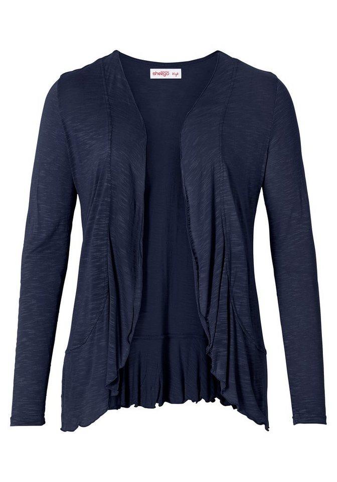sheego Style Shirtjacke mit Volants in marine
