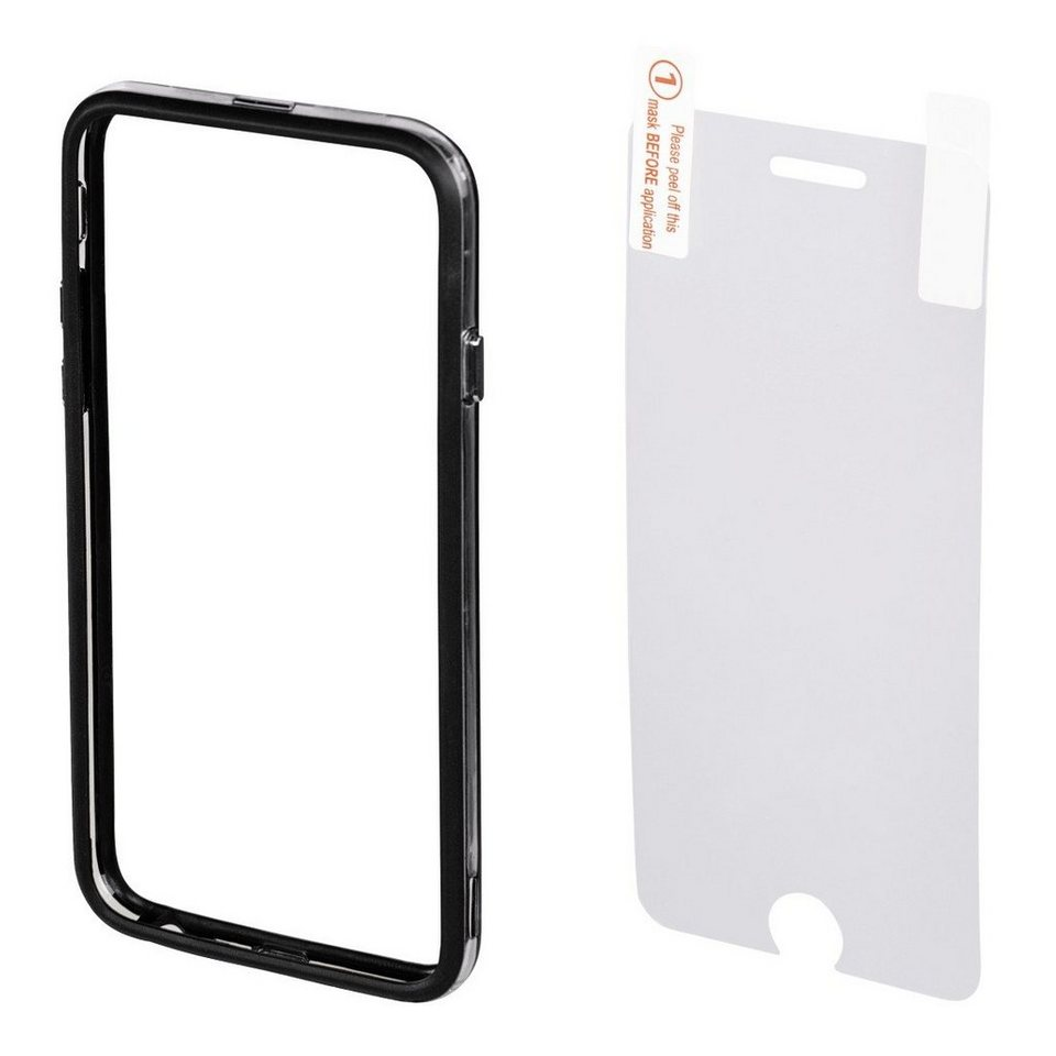 Hama Cover Edge Protector für Apple iPhone 6/6s + Displayfolie in Schwarz