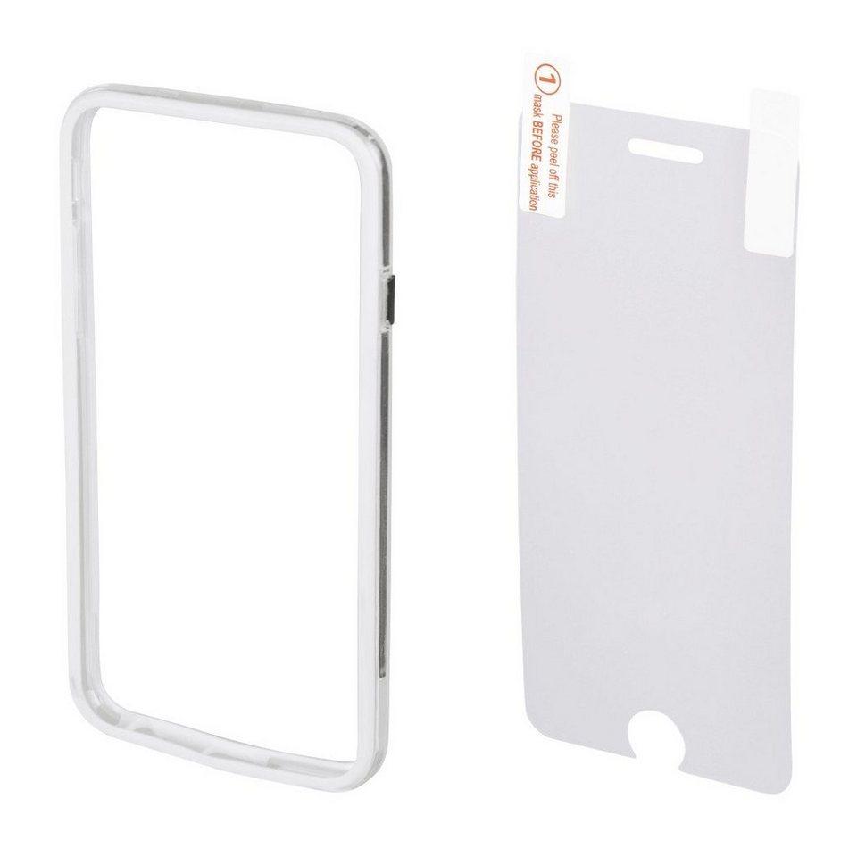 Hama Cover Edge Protector für Apple iPhone 6/6s + Displayfolie, Weiß in Weiß