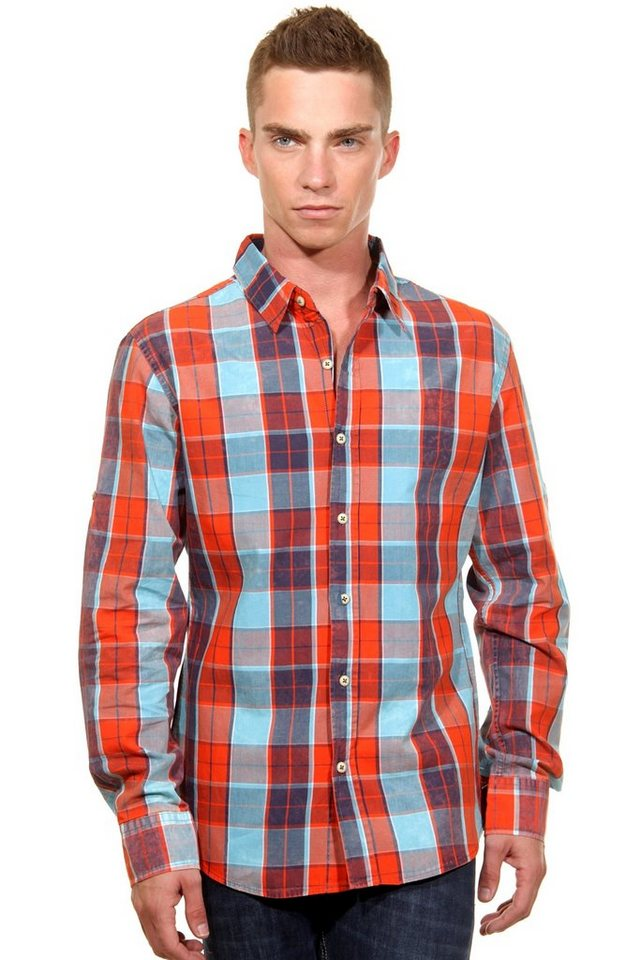 CATCH Langarmhemd slim fit in orange/blau