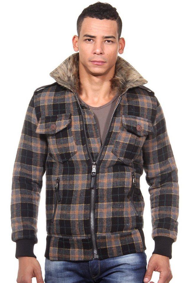 CATCH Jacke mit Kunstfellkragen slim fit in schwarz/braun