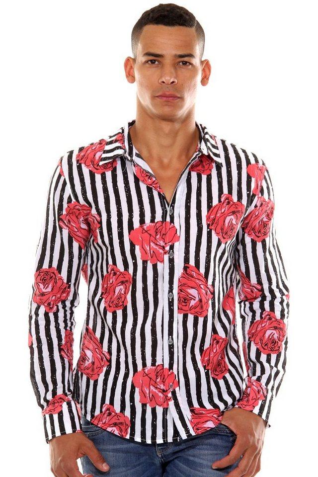 CATCH Langarmhemd slim fit in rose/grün