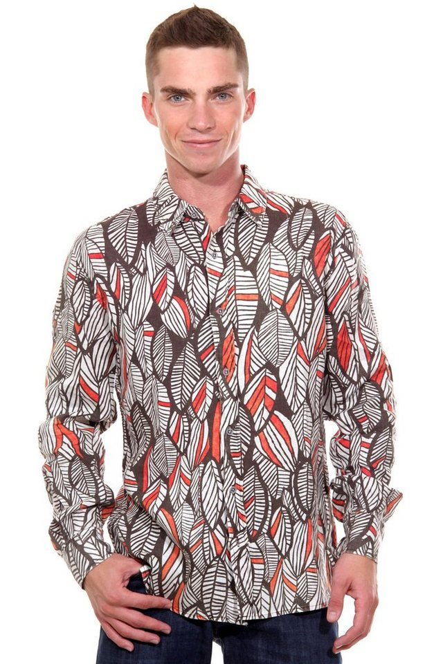 CATCH Langarmhemd slim fit in braun