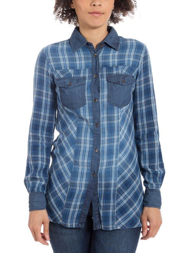 TIMEZONE Blusen »Longsleeve blouse« in indigo check