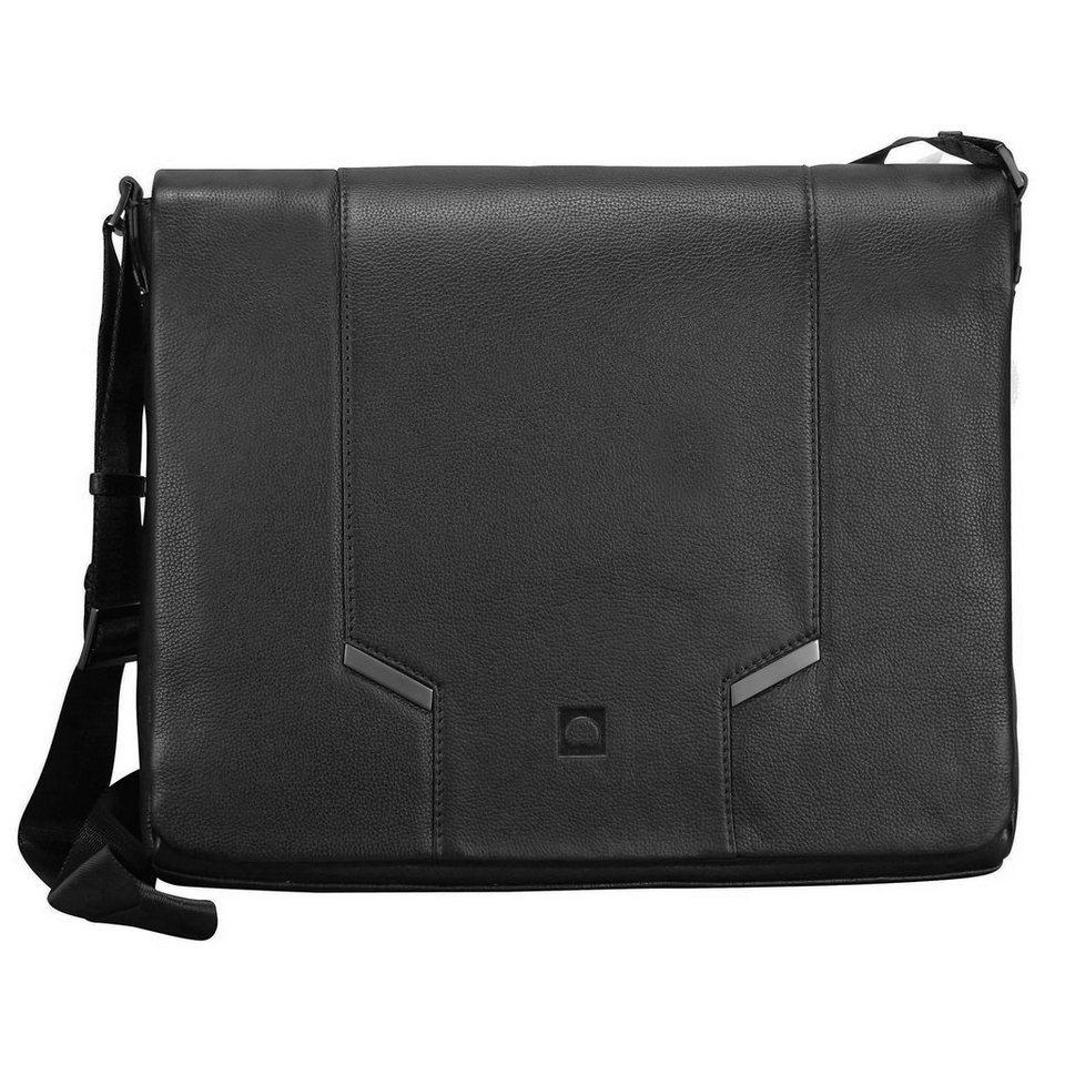 Delsey Haussmann Umhängetasche Leder 36 cm in schwarz