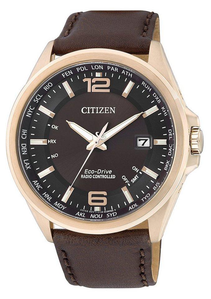 """Citizen, Funkarmbanduhr, """"CB0017-03W"""" in braun"""