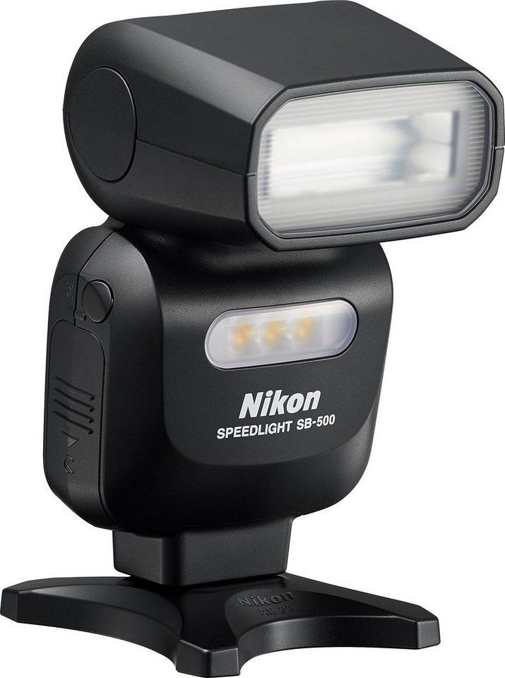 NIKON SB-500 i-TTL Blitzgerät, Leitzahl 24 (m, ISO 100, 23 °C) in schwarz