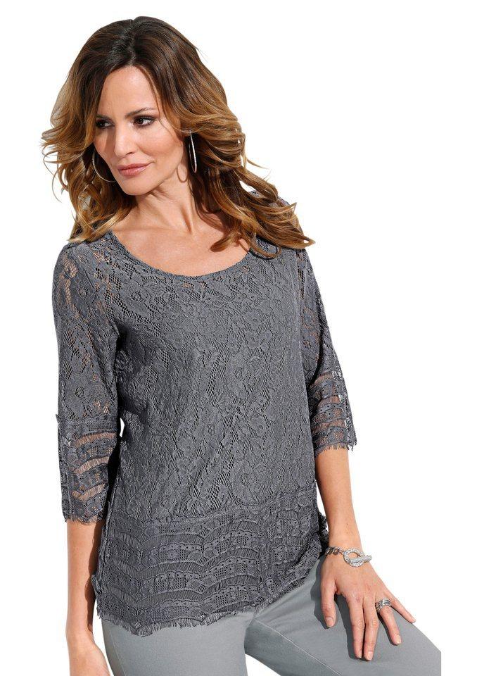 Lady Shirt mit 3/4-Ärmel in grau