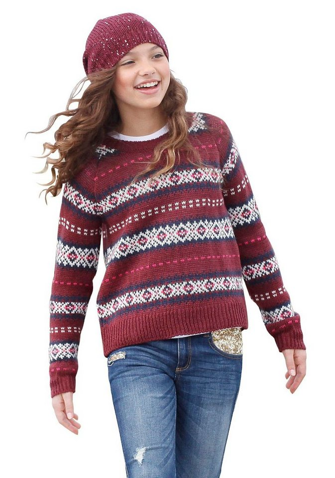 Arizona Norwegerpullover in modischem Jaquard- Muster in bordeaux-marine