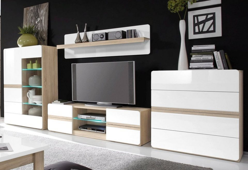 wohnwand wei hochglanz mit holz. Black Bedroom Furniture Sets. Home Design Ideas