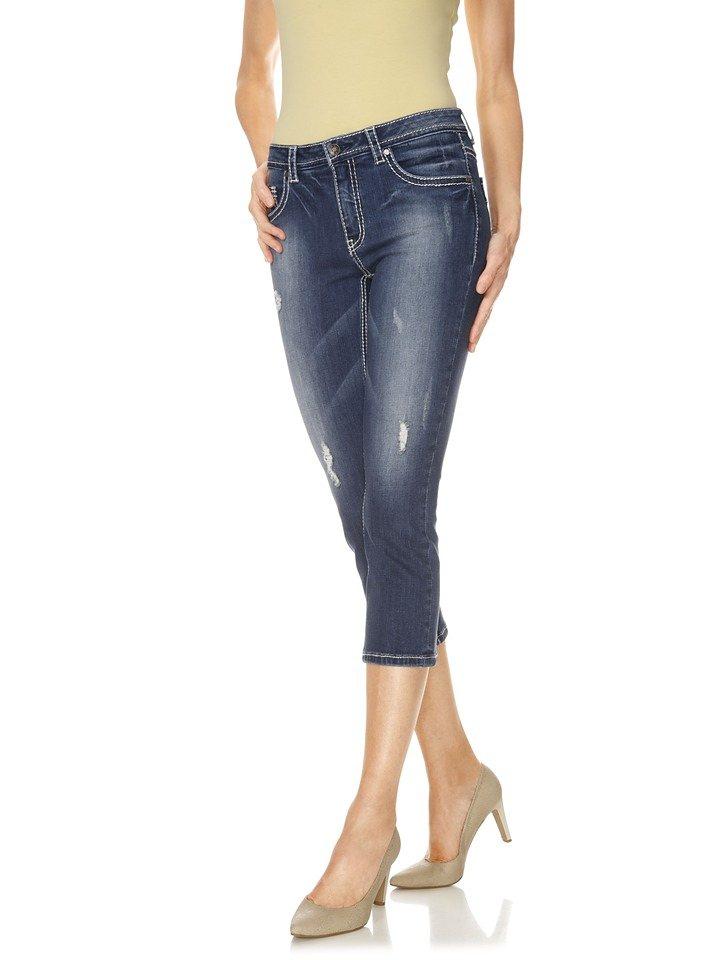 heine CASUAL Capri-Jeans mit Kontrast-Stitching | Bekleidung > Jeans > Caprijeans | Blau | heine