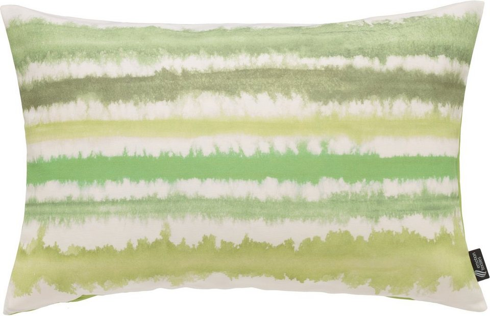 Kissenhülle, Emotiontextiles, »Aquarellstreifen« in green