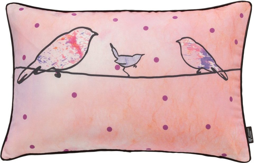 Kissenhülle, Emotiontextiles, »Crazy Birds« in pink