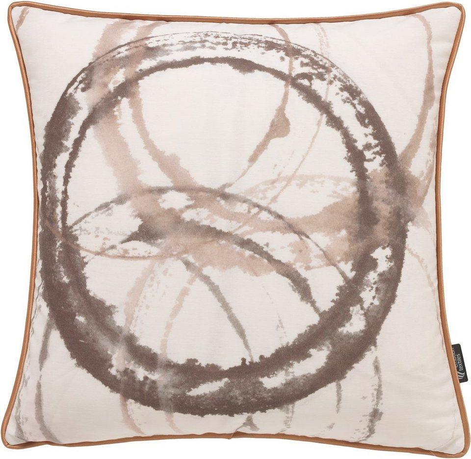 Kissenhülle, emotion textiles, »Aquarellkreise« in sepia