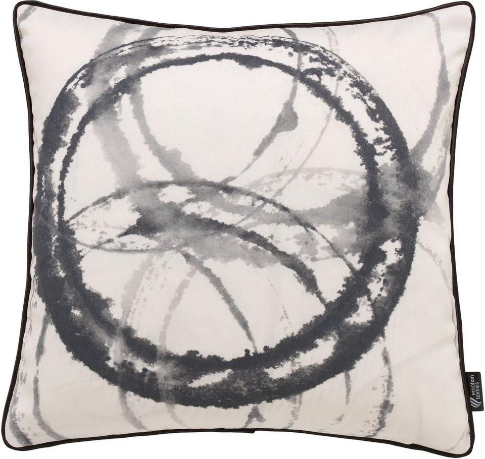 Kissenhülle, emotion textiles, »Aquarellkreise« in black