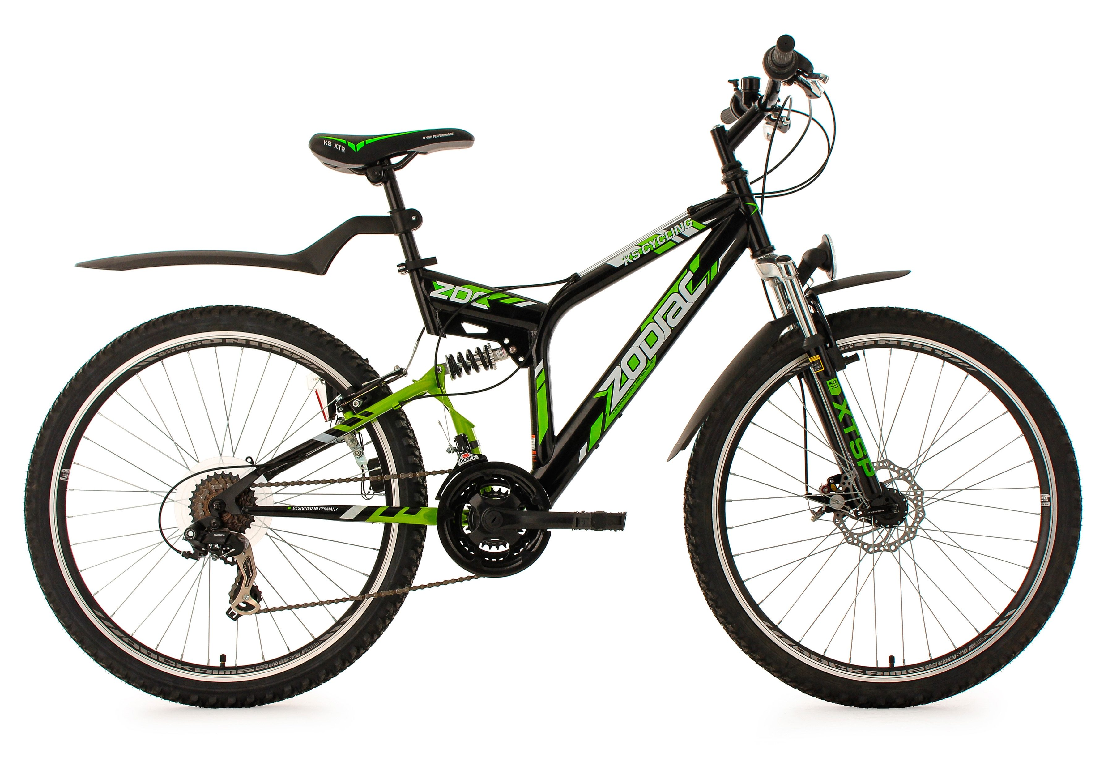 Fully-Mountainbike, 26 Zoll, SHIMANO 21 Gang Kettenschaltung, schwarz-grün, »Zodiac«, KS Cycling