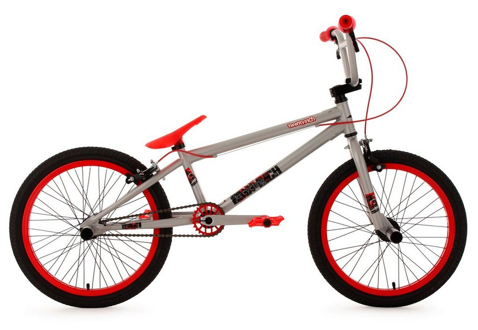 bmx fahrrad 20 zoll silber rot twentyinch ks cycling. Black Bedroom Furniture Sets. Home Design Ideas