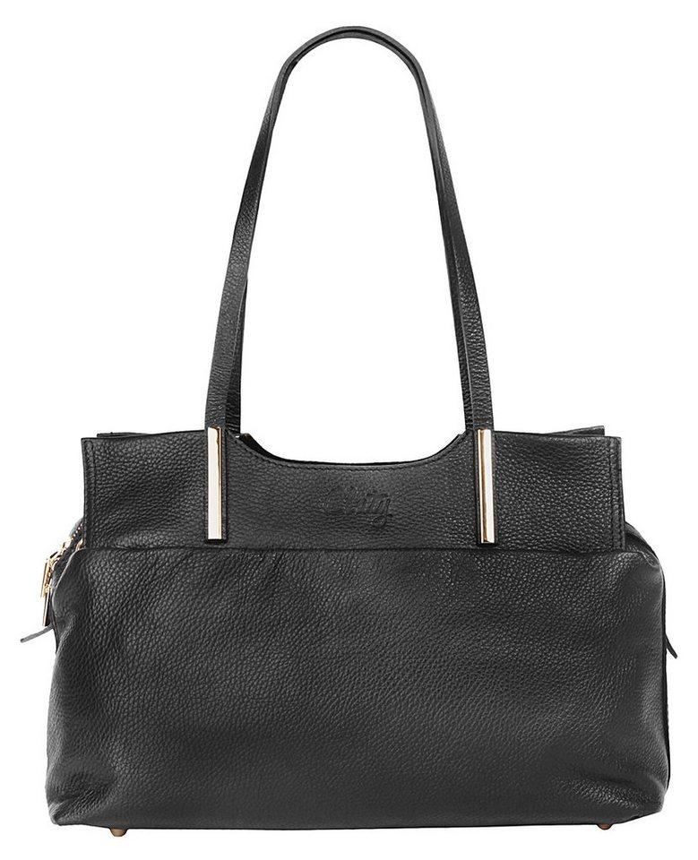 Cluty Leder Damen Handtasche mit goldfarbenen Beschlägen in schwarz