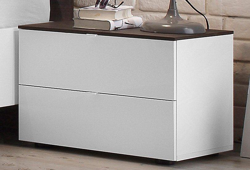 LC Nachttisch in weiß mit wengefarbenem Eiche-Dekor