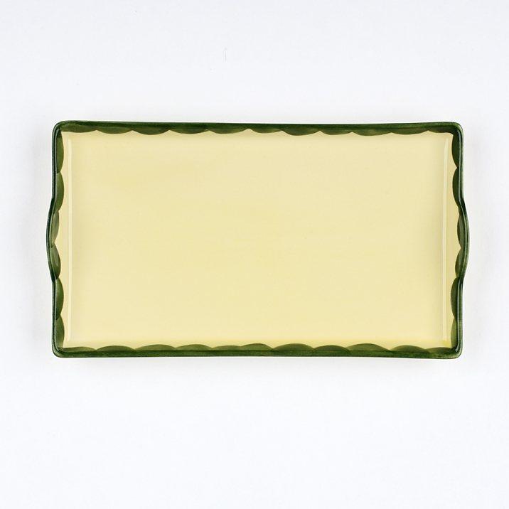 Zeller Keramik Tablett »Hahn und Henne« in Grün