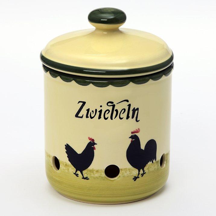 Zeller Keramik Zwiebeltopf »Hahn und Henne« in Mehrfarbig