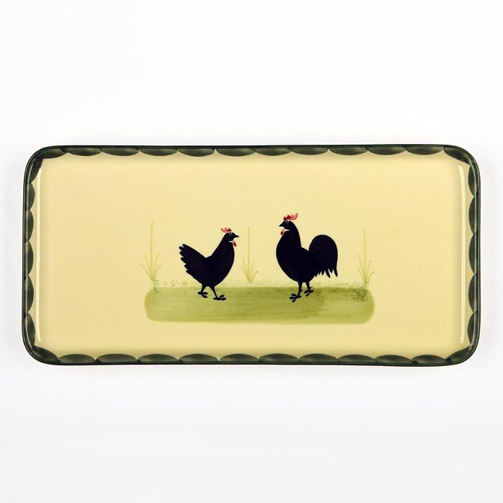 Zeller Keramik Stollenplatte »Hahn und Henne« in Mehrfarbig