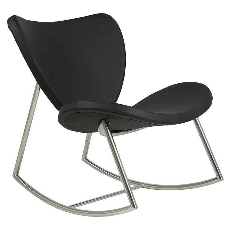 Synoun Schaukelstuhl schwarz aus Kunstleder Gestell Stahl »Gunga« in schwarz