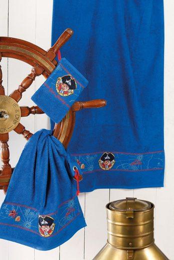 Handtuch Set, Capt'n Sharky, »Sharky«, mit Piraten Bordüre
