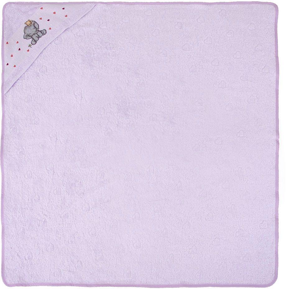 Kapuzenhandtuch, Dyckhoff, »Elefant«, mit Elefantbordüre in lila