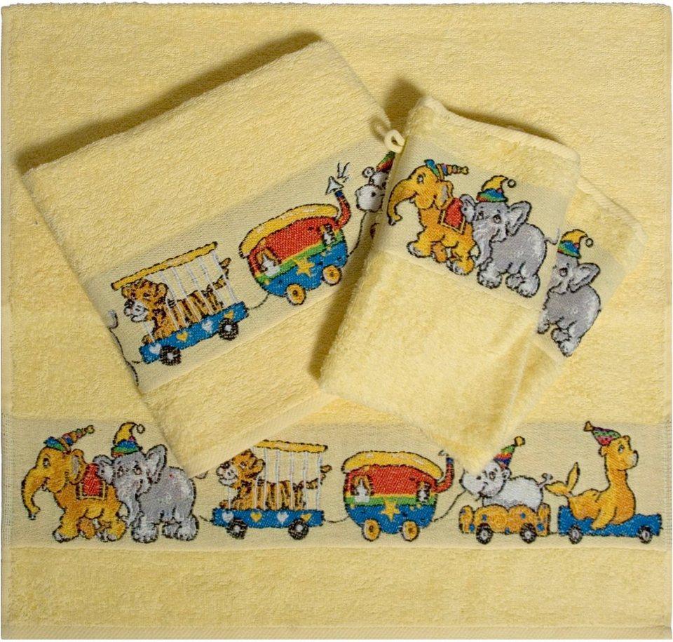 Handtuch Set, Dyckhoff, »Zirkus«, mit Zirkustieren in gelb