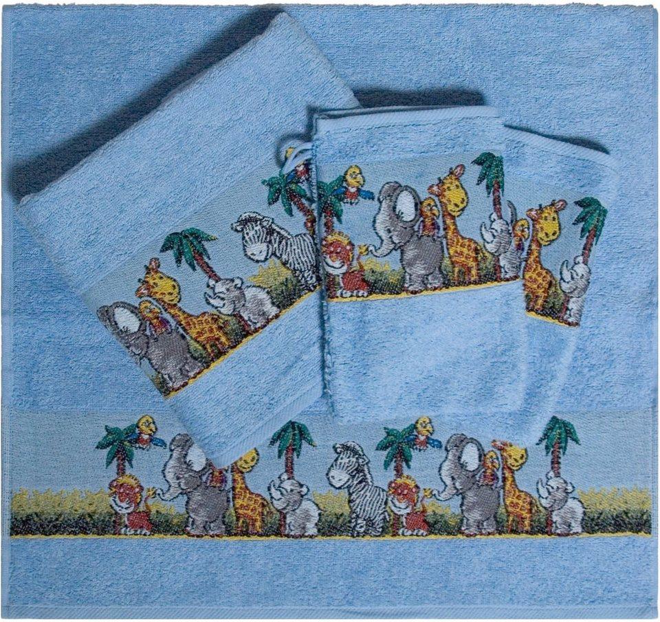 Handtuch Set, Dyckhoff, »Afrika«, mit bunten Tiermotiven in blau