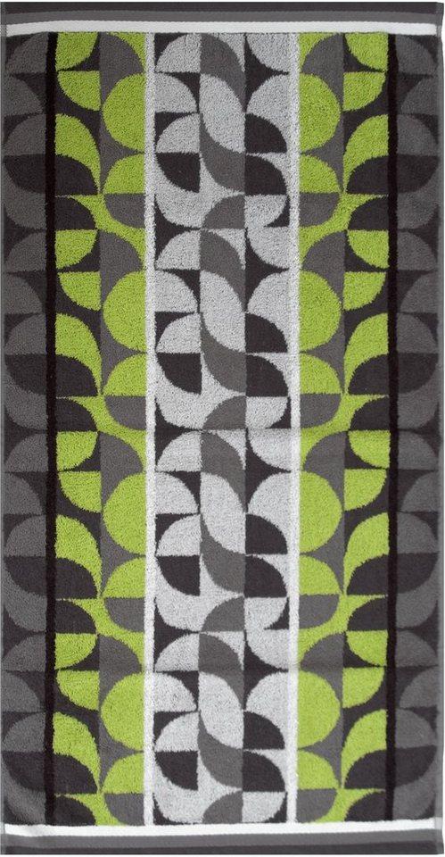 Badetuch, Dyckhoff, »Retro Jacquard«, mit runden Mustern in grün