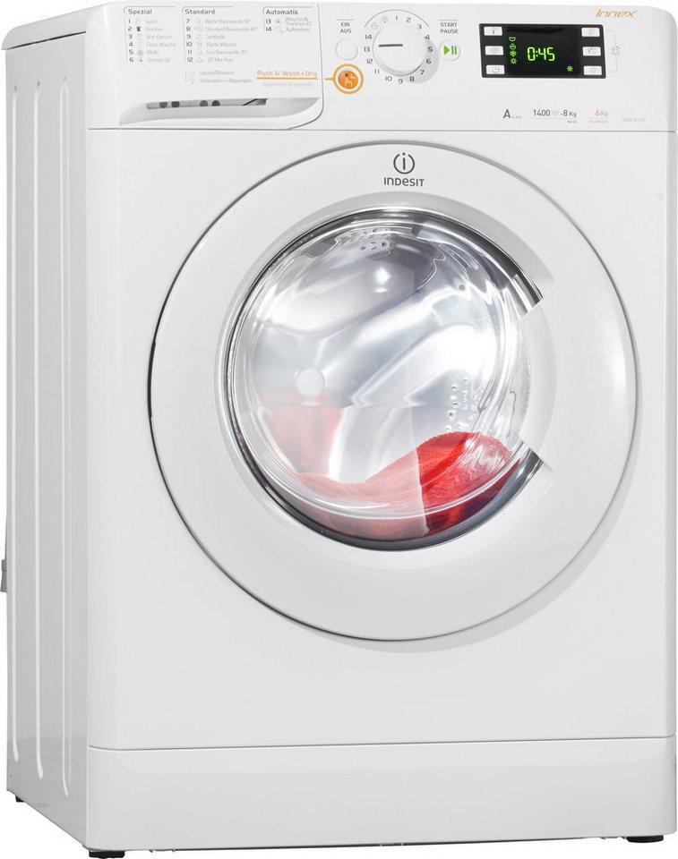 Indesit Waschtrockner XWDE 861480X W DE, A, 8 kg / 6 kg, 1.400 U/Min in weiß