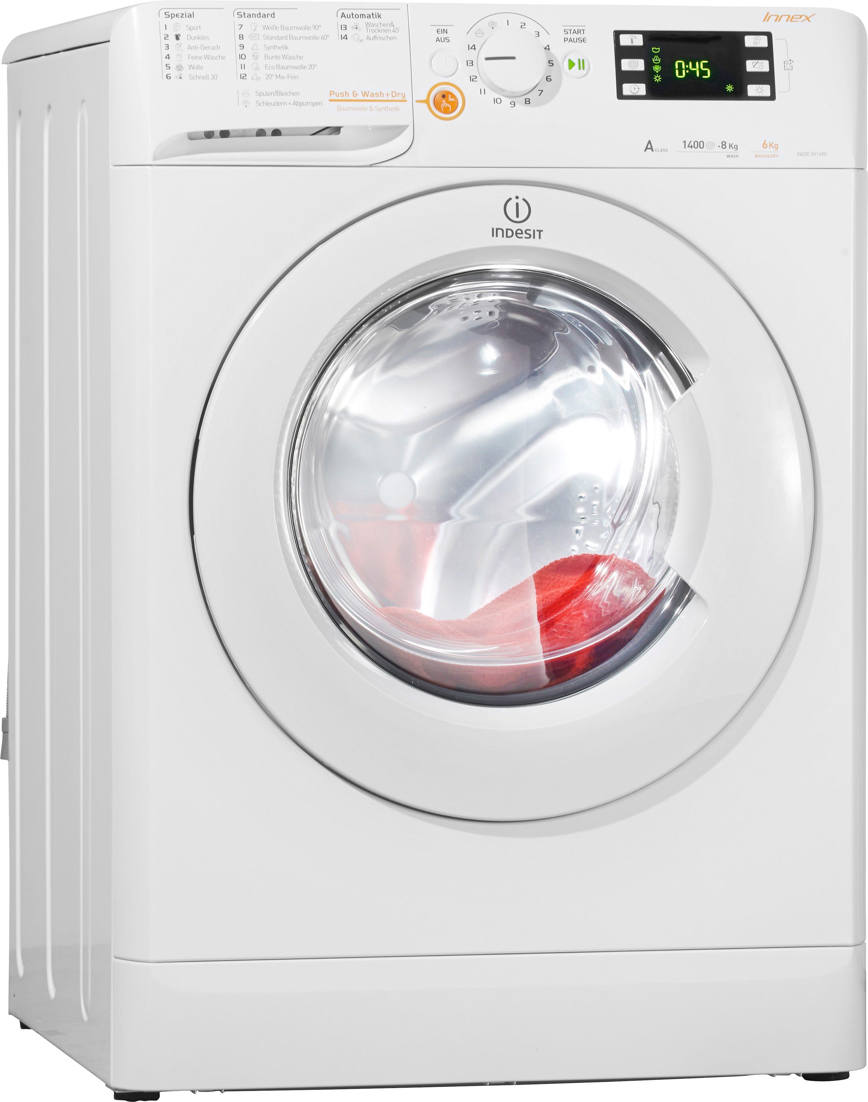 Indesit Waschtrockner XWDE 861480X W DE, A, 8 kg / 6 kg, 1.400 U/Min