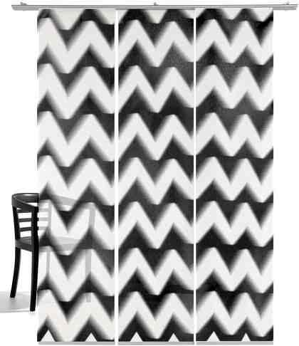 Schiebegardine »Zick-Zack«, emotion textiles, Klettband (3 Stück), inkl. Beschwerungsstange
