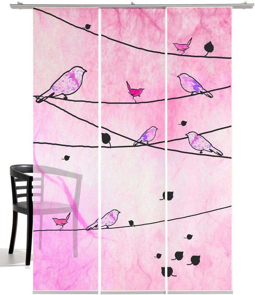 Schiebegardine, Emotiontextiles, »Crazy Birds«, mit Klettband (3-tlg. incl. Technik) in pink