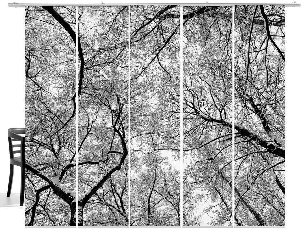 Schiebegardine, Emotiontextiles, »Wood«, mit Klettband (5-tlg. incl. Technik) in black