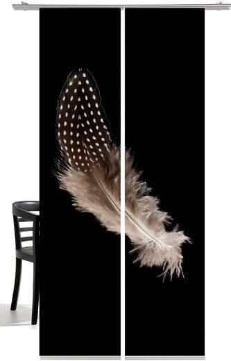 Schiebegardine »Feder«, emotion textiles, Klettband (2 Stück), mit Befestigungszubehör