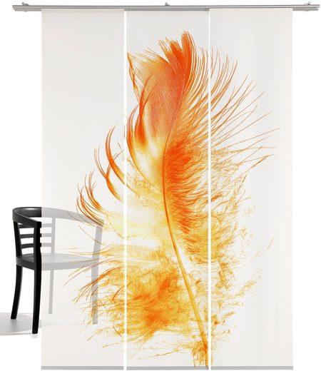 Schiebegardine »Kunstfeder«, emotion textiles, Klettband (3 Stück), inkl. Beschwerungsstange