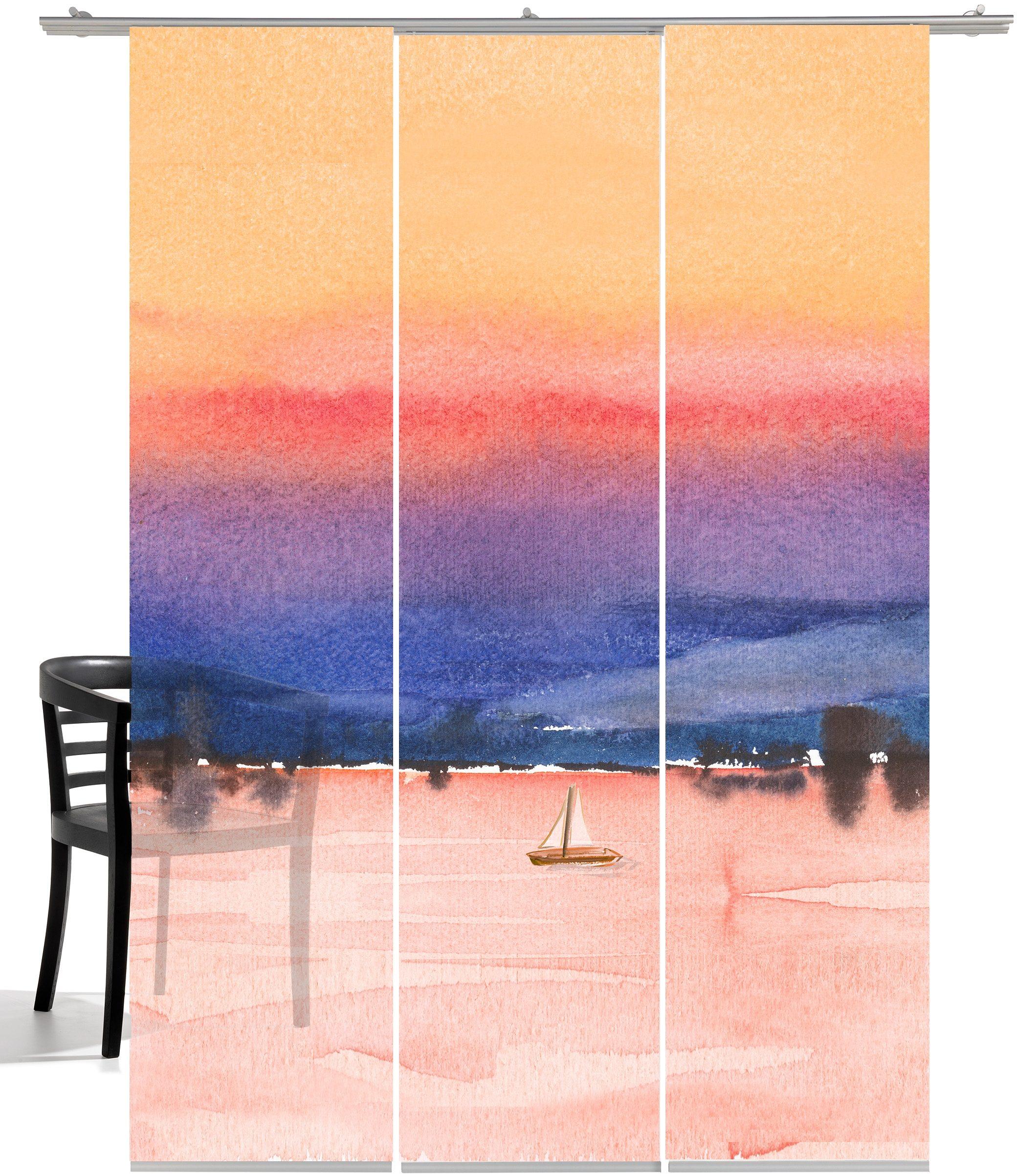 Schiebegardine »Sunrise«, emotion textiles, Klettband (3 Stück), inkl. Beschwerungsstange