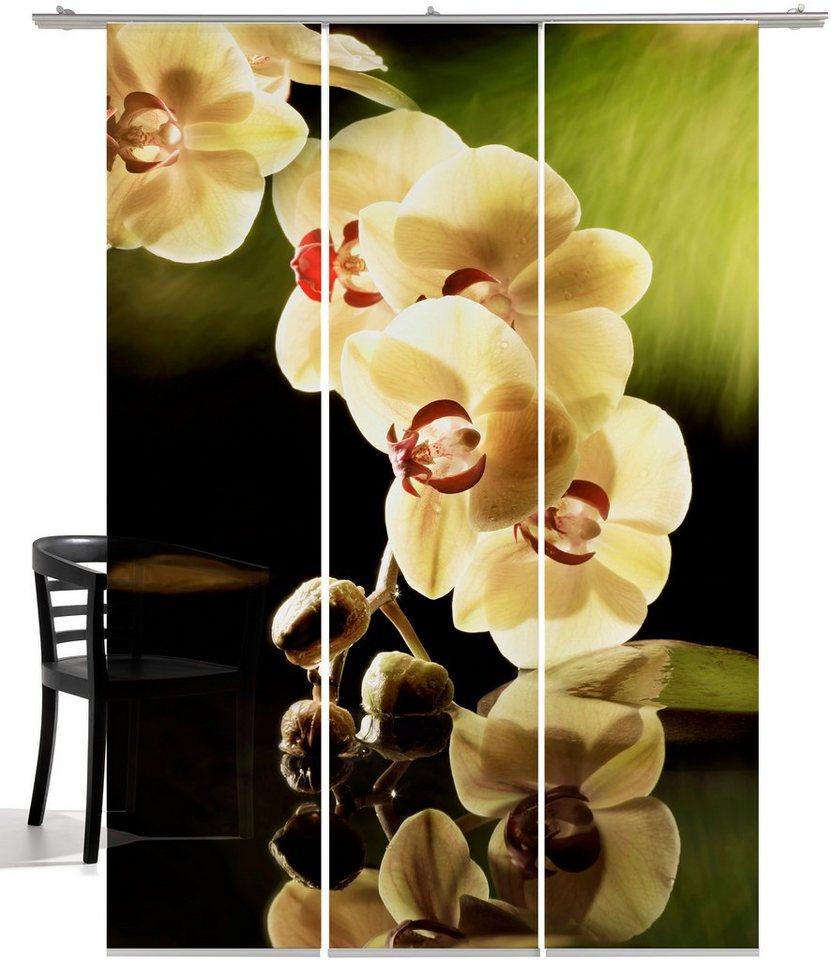 Schiebegardine, Emotiontextiles, »Orchidee«, mit Klettband (3-tlg. incl. Technik) in weiß/grün
