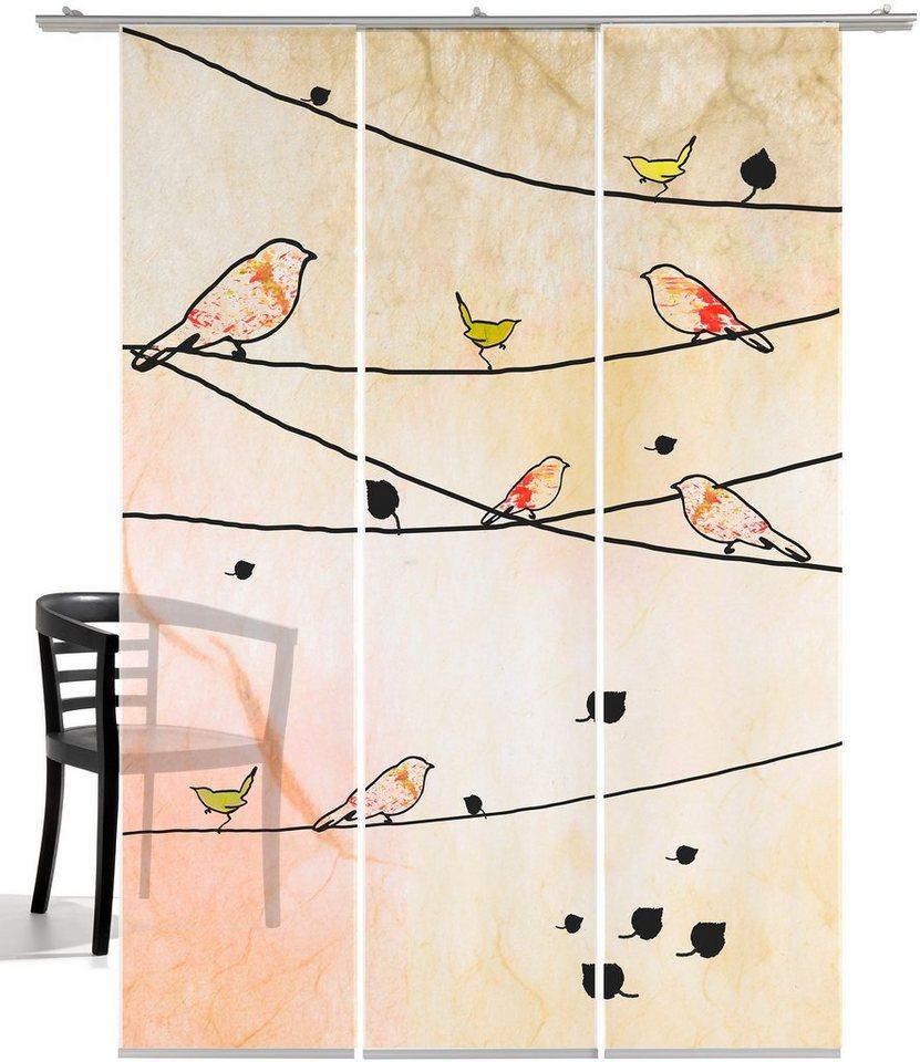 Schiebegardine, Emotiontextiles, »Crazy Birds« (3-tlg. incl. Technik) in orange