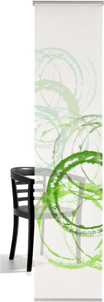 Schiebegardine, Emotiontextiles, »Aquarellkreise«, mit Klettband (1-tlg. Einzelpaneele incl. Technik) in green